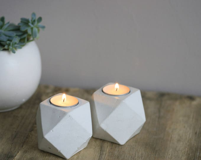 Faceted Concrete Decorative Candleholder | Candleholder | Display | Urban | Industrial