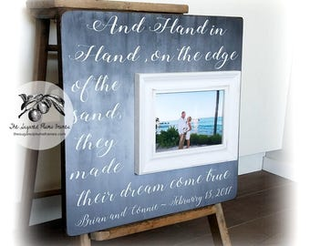 Wedding Gift, Anniversary Gift, Personalized Picture Frame, Hand in Hand on the Edge of The Sand, 16x16 The Sugared Plums Frames