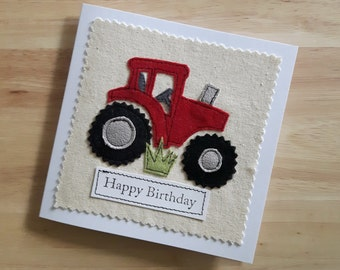 Red Tractor Birthday card, applique textile Birthday card