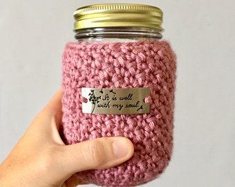 Pink Crochet Mason Jar Cozy / Mason Jar Cozies / Crocheted Cozies / Drink Cozies / Crocheted Gifts / Hamdmade Gifts / Gifts for Women