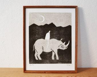 rhino · original linocut · Limited Edition · DIN A4