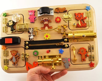 Safari board Busy board for toddler Baby toy Occupational Therapy Travel busy board Wooden Educational Toys Special Needs Alzheimer Sensory