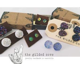 Woodstock Dotz — psychedelic Iridescent multicolor glass earrings studs hippie simple dainty wild festival bohemian tapestry nashville