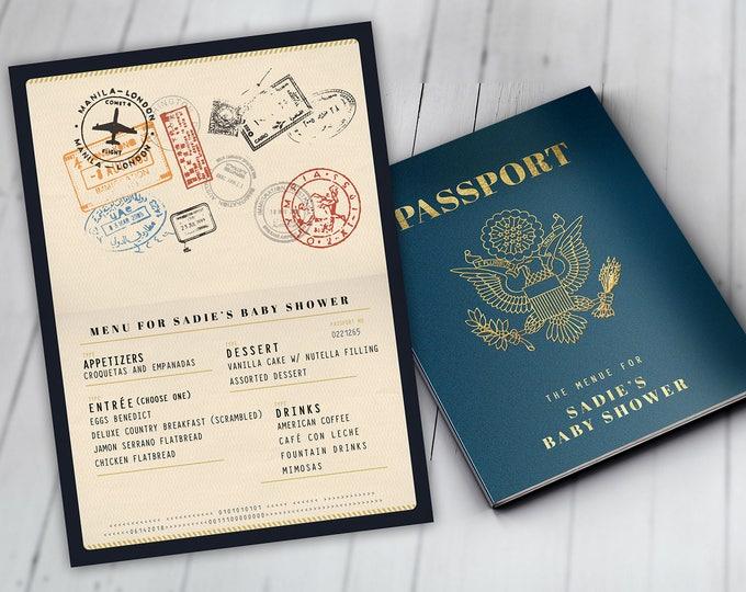 Menu, Itinerary, passport, precious cargo,, travel theme, travel party, Graduation, baby shower, birthday, wedding, Digital files only