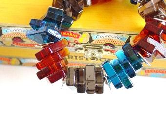 Modern Art Glass Shard Bracelet / Statement Bracelet / Chunky / Teal / Cognac / Topaz / Modern / Bold / Artsy / Funky / Fun / Artistic