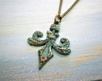 Verdigris/Turquoise Fleur De Lis Patina Necklace/Fleur De Lis Long Necklace/Long Necklace/Steampunk Necklace/Layering Necklace/Boho Jewelry.