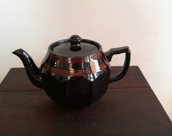 Vintage Glazed Redware Teapot Made in Bradwell, England