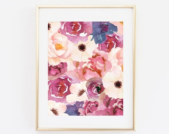 Floral Printable Wall art, Watercolor Flowers, Printable Instant Download, Pink Flowers, Art Print, Home Decor, Floral Print