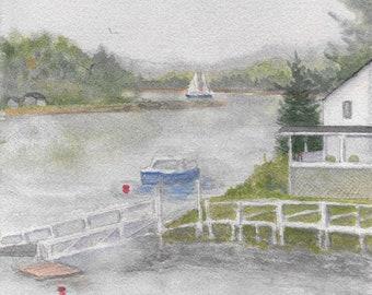 Maine Coastal Fog Lifting Watercolor