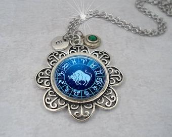 Taurus Zodiac Necklace w-Swarovski Birthstone Crystal & Letter Charm of Your Choice, April Birthday, May Birthday, Taurus Birthday Gift
