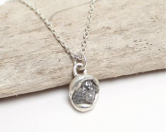 Uncut Diamond Charm, Raw Diamond Pendant, Rough Diamond Charm, Bridal Necklace, Rough Diamond Necklace, Alternative Diamonds, Raw Diamonds