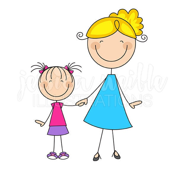 mom and daughter stick figures cute digital clipart rh etsy com mom and daughter love clipart mom and daughter talking clipart