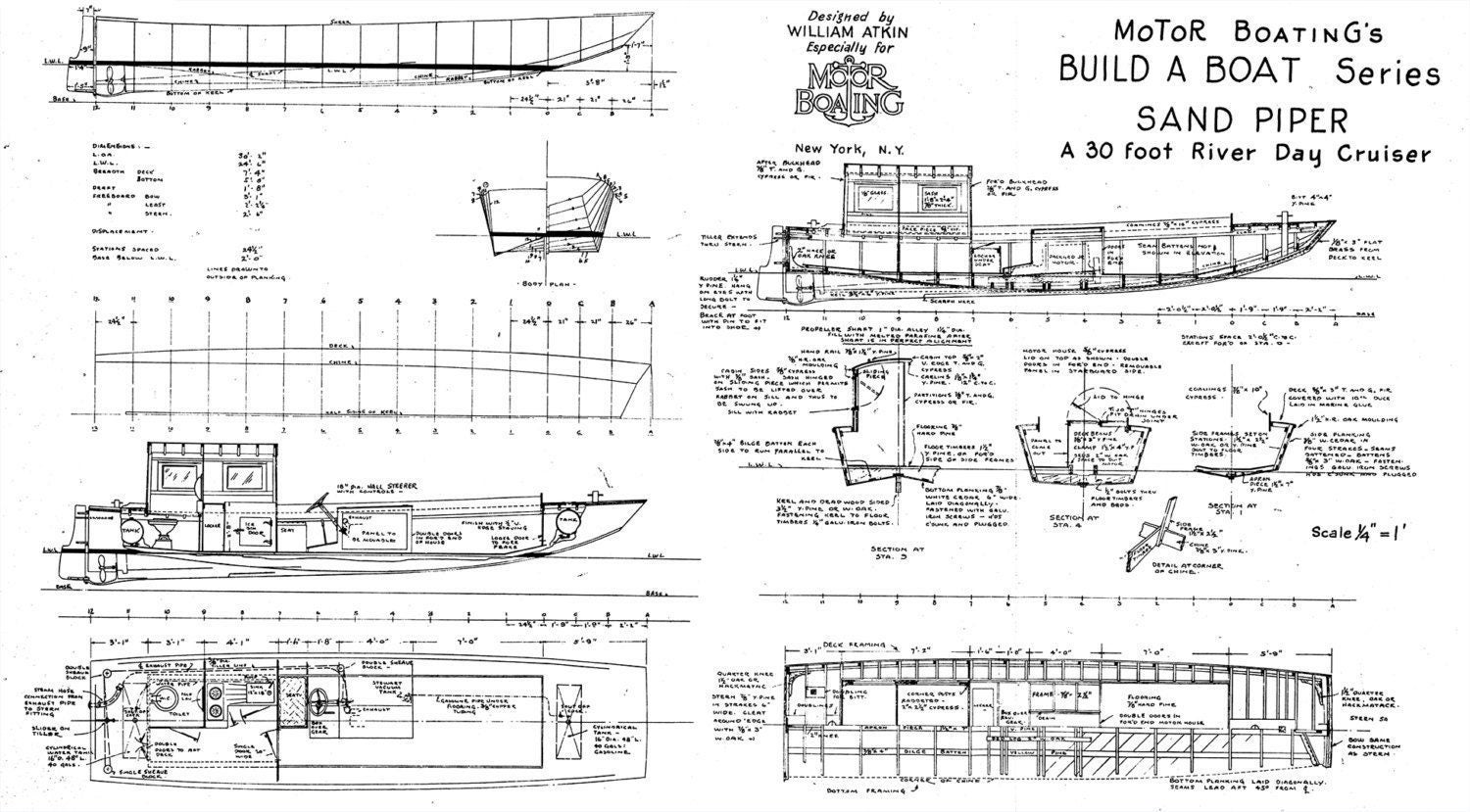 Print of vintage sand piper boat blueprint from motor boatings print of vintage sand piper boat blueprint from motor boatings build a boat series on your choice of matte paper photo paper or canvas malvernweather Images