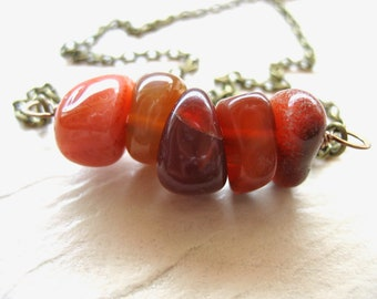 Agate Necklace, Orange Agate Gemstone Necklace, Agate Jewelry, Orange Necklace, Statement Necklace, Gemstone Jewelry, Agate Necklace