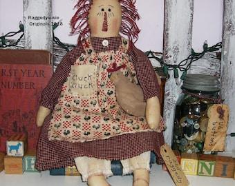 Primitive Raggedy Ann doll with Chicken HEN ornie