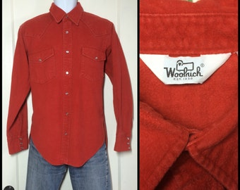 1980's Woolrich thick heavy Chamois cloth snap shirt size Large Blood Orange western cowboy all cotton