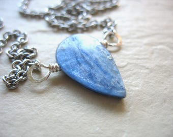 Kyanite Necklace, Blue Kyanite Teardrop Stone Silver Chain Necklace, Handmade Gemstone Necklace