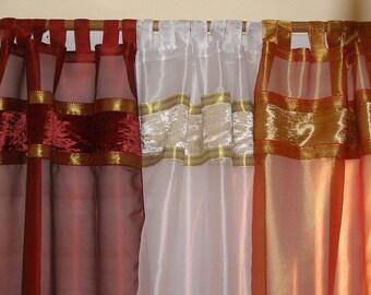 "Curtain Panels Sheer Panel Drapes with Running Ribbon 42""x 84"""