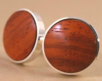 Wood Cufflinks - African Bubinga Thin Bezel cuff links - Available in Gunmetal!