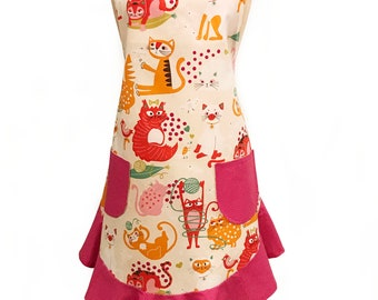 Whimsical Cats Apron, Retro Style Full Woman's Apron, Apron with Ruffle