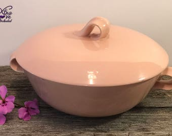 Homer Laughlin Jubilee Shell Pink Dish, Jubilee Round Covered Vegetable Dish, Homer Laughlin Covered Dish