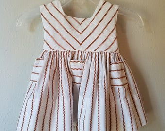 Vintage Girls Brown and White ZigZag Dress by Burdee Toddlette- Size 9-12 months- Gently Worn