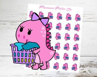 Dinosaur Planner Stickers // Laundry // Housework // Chores // 001