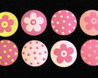 Set of 12 - YELLOW and PINK - Polka Dots & Flowers - Knobs / Pulls