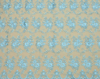 Turquoise lace, embroidery mesh lace, lace fabric, buy yard, lace for dress, lingerie lace-1/yard