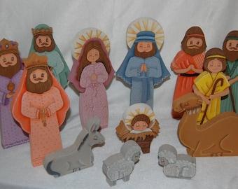 Handpainted Wood Nativity Set