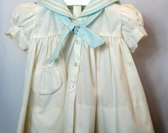 Vintage Baby Girl Sailor Dress in White with Baby Blue Collar and Tie- Size 18 months-  New, never worn