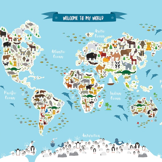 welcome to my world animal map of the world map for children