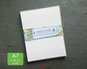 "100 A7 or 5x7 FLAT Cards & Envelopes, 100% Recycled Blank Invitations/Announcements with Envelopes, 5 1/8 x 7"", 80-100lb, White or Natural"