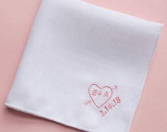 Heart Embroidery on a Custom Linen Pocket Square