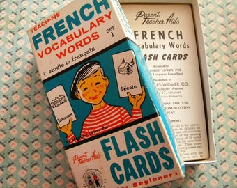 Vintage Box of French Flash Cards with Pictures 1962 French Vocabulary Words