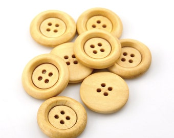 """100 Round Wood Button Four Hole Natural Colour 23mm (7/8"""") - 100 Pack PWB26"""
