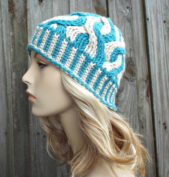 Two Color Cable Beanie - Blue Womens Beanie Blue Mens Beanie - Cable Hat Blue Hat Cream Hat Warm Winter Hat - Ursula - READY TO SHIP