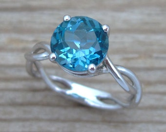 Blue Topaz Ring, London Blue Topaz Infinity Engagement Ring, Anniversary, Bridal Infinity Ring, knot ring, Birthstone ring, For her