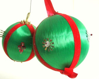 Vintage Beaded Green Satin Sputnik Christmas Ornaments, Set of 2