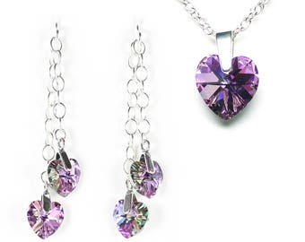 Purple heart necklace, purple heart earrings, heart jewelry, purple jewelry, crystal jewelry set, jewelry gift set