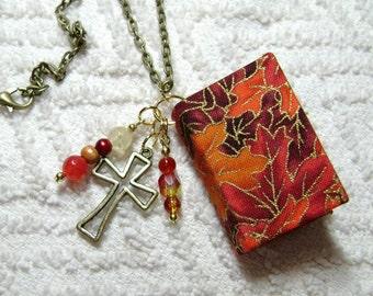 Handmade Book Necklace - Book Jewelry - Book Pendant - Book Journal - Handmade Book - Gold Cross Charm - BN-174