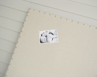 "Huge X-Large Furniture Grade Memo Board - 34 x 48"" MAGNETIC Bulletin Board - Hardwood Construction, Silver Upholstery Tacks Button Magnets"