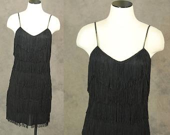 vintage 80s Fringe Dress - Black Fringe Flapper Dress 1980s Wiggle Cocktail Dress Sz S