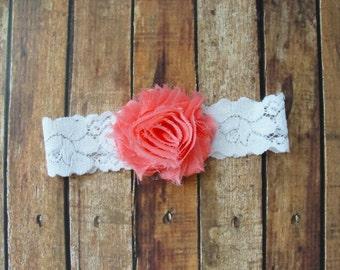 Coral Garter, Bridal Garter, Wedding Garter, Toss Keepsake, Single Garter, White Lace