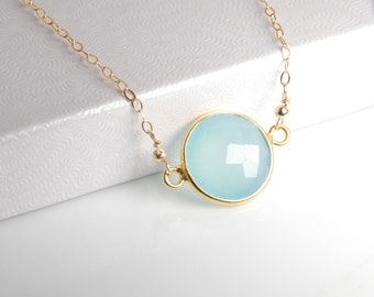 Aqua chalcedony bezel necklace, vemeil bezel, 14K gold filled chain, dainty everyday necklace, personalized necklace, gemstone, initials