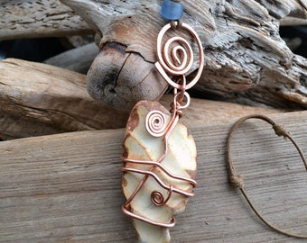 FREE SHIPPING Sea Pottery Pendant, sea pottery necklace, Wire Wrapped, Hammered Copper Spiral on Adjustable Cotton Cord, statement jewelry