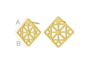 Geometric Sterling Silver Earrings Gold Plated Gift 13.7 mm