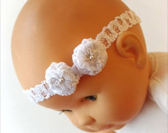 White lace and flowers lace christening headband