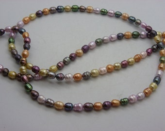 large baroque colorful 6 x 8 mm cultured pearl necklace