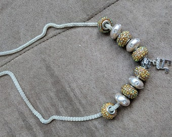 Charm Necklace with metal chain